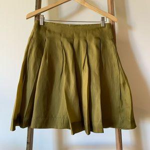 Anthropologie Fei Silk Olive Green Skirt